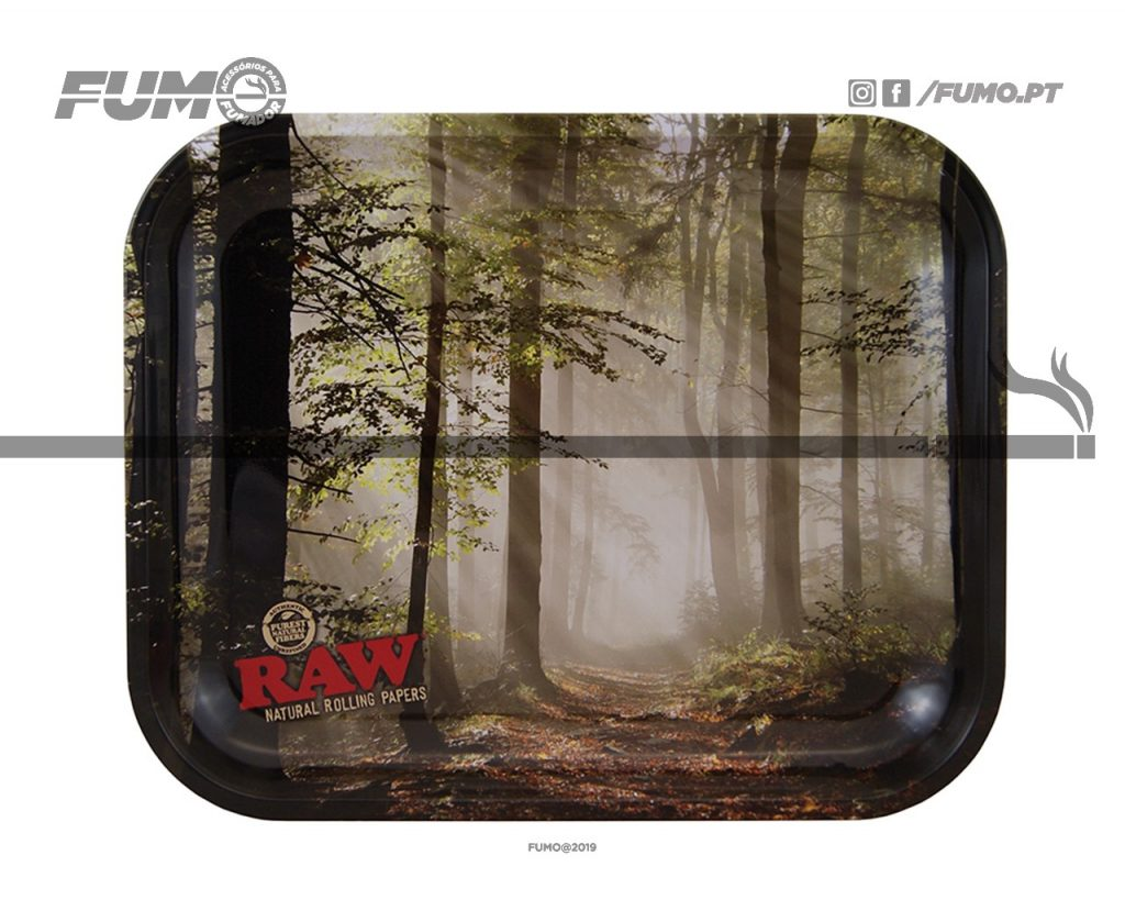 Raw Metal Rolling Tray Forest